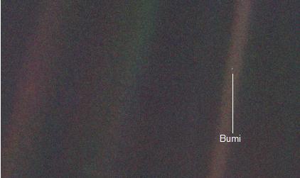 Bumi sebagai bintik sangat kecil dan amat redup, diabadikan oleh instrumen pencitra Voyager-1 dari jarak 6 milyar kilometer. Sumber : NASA, 1990.
