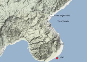 Posisi Gunung Iliwerung dan dua gunung parasiternya (yakni Gunung Iligripe dan Gunung Hobal) di Tanjung Atadei, pulau Lembata (NTT) berdasarkan peta kontur Google Maps. Nampak Teluk Waiteba dan area yang menjadi sumber longsoran berskala raksasa yang menciptakan bencana tsunami Waiteba 1979 pada 18 Juli 1979 silam. Sumber: Google Maps, 2013.