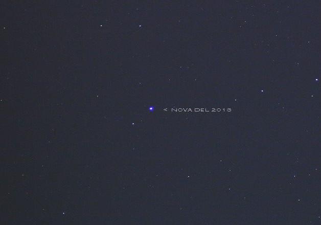 Nova Delphinus 2013 diabadikan oleh Mutoha Arkanuddin pada 16 Agustus 2013 menggunakan teleskop di lingkungan kota Yogyakarta. Sumber; Arkanuddin, 2013.