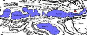 Posisi Gunung Rokatenda (segitiga merah) di busur Kepulauan Sunda Kecil.Nampak patahan anjak (sesar naik) Flores melintas di sisi utara gunung. Sumber : Budiono, 2009.