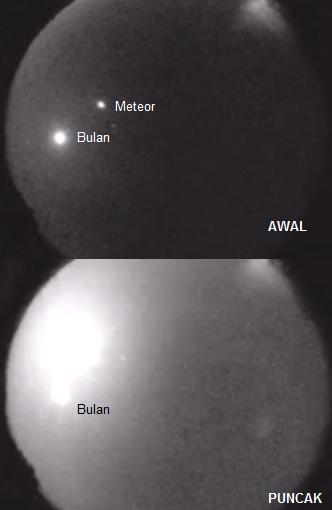 Detik-detik pemunculan meteor-terang Cleveland di langit seperti yang direkam salah satu kamera khusus pemantau meteor milik NASA. Di awal mula, meteor ini hanya sebintik cahaya kecil yang lebih redup dibanding Bulan. Namun berselang beberapa detik kemudian meteor mencapai puncak kecerlangannya dan demikian benderang sehingga kamera hampir tersaturasi. Sumber: NASA, 2013.