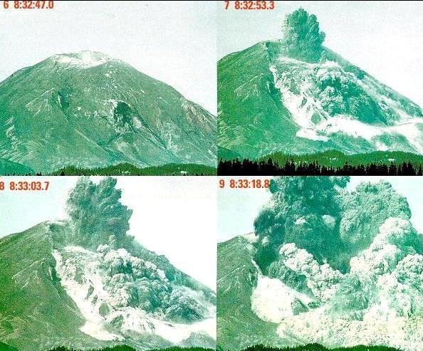 Gambar 4. Detik-detik letusan lateral Gunung St Helena pada 18 Mei 1980 hanya dalam tempo 31 detik semenjak pukul 08:32:47,0 hingga pukul 08:33:18,8 setempat. Nampak hanya sedikit kepulan gas dan debu vulkanik yang membumbung vertikal, sebagian besar diletuskan mendatar ke arah kanan dari bidang foto ini. Sumber: USGS, 1980.