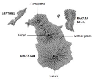 Gambar 2. Topografi pulau Krakatau hanya dua minggu sebelum lenyap dalam puncak letusan dahsyatnya, berdasarkan data-data pengukuran Kapten Firzenaar pada 11 Agustus 1883. Sumber: Carayannis, 2010.