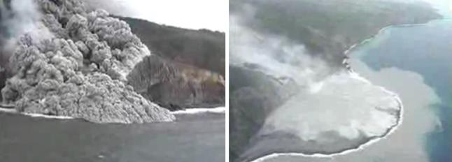 Gambar 5. Kiri : bagaimana awan panas letusan Soufriere Hills mulai mengalir menuju ke Laut Karibia dalam letusannya di tahun 1995 dan kemudian terus menjalar menyeberangi laut hingga sejauh 1 kilometer lebih. Kanan: delta vulkanik seluas sekitar 100 hektar yang terbentuk pasca hempasan awan panas. Sumber: USGS, 1995.
