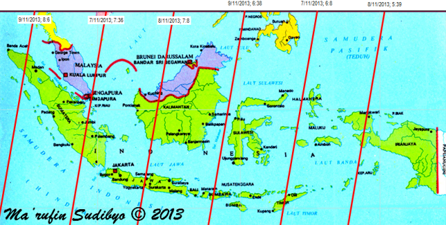"Gambar 4. Peta lintasan bangkai GOCE di atas Indonesia pada 7 hingga 9 November 2013 pagi berdasarkan TLE GOCE 1 November 2013. Lintasan bangkai satelit GOCE diperlihatkan oleh garis merah. Dalam tiap lintasannya, bangkai GOCE bakal bergerak cepat dari timurlaut ke barat daya. Tiap lintasan memiliki label, misalnya ""8/11/2013; 5:39"" berarti lintasan dimulai pada tanggal 8 November 2013 pukul 05:39 WIB di titik utara (garis lintang 10 LU) dan berakhir di titik selatan (garis lintang 12 LS) pada 5-6 menit kemudian. Sumber : Sudibyo, 2013 dengan data dari Corbellini, 2013."