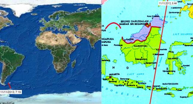 Gambar 5. Titik jatuhnya satelit GOCE di dekat Kepulauan Falklands (kiri) dan lintasan terakhirnya di atas Indonesia berdasarkan data TLE (two-line element) GOCE epoch 10 November 2013 23:03 UTC (kanan). Sumber; Sudibyo, 2013 berdasarkan data USSTRATCOM dan ESA, 2013.