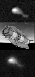 Gambar 4. Satelit GOCE diabadikan dari muka Bumi oleh Ralf Vandebergh (Belanda) dengan teleskop dan kamera khusus pada 22 September 2013, sebulan sebelum misinya dinyatakan berakhir (atas dan bawah), dibandingkan dengan gambaran artis ESA mengenai satelit tersebut (tengah). Garis kuning menunjukkan posisi sayap GOCE.Sumber: Vandebergh, 2013.