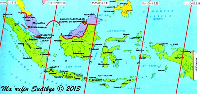 "Gambar 4. Peta lintasan bangkai GOCE di atas Indonesia pada 10 hingga 11 November 2013 pagi berdasarkan TLE GOCE 8 November 2013. Lintasan bangkai satelit GOCE diperlihatkan oleh garis merah. Dalam tiap lintasannya, bangkai GOCE bakal bergerak cepat dari timurlaut ke barat daya. Tiap lintasan memiliki label, misalnya ""10/11/2013; 5:58"" berarti lintasan dimulai pada 10  November 2013 pukul 05:58 WIB di titik utara (garis lintang 10 LU) dan berakhir di titik selatan (garis lintang 12 LS) pada 5-6 menit kemudian. Sumber : Sudibyo, 2013 dengan data dari Corbellini, 2013."