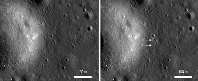 Gambar 6. Citra satelit LRO untuk lokasi pendaratan Chang'e 3 yang diambil pada 30 Juni 2013 (kiri) dan 25 Desember 2013 (kanan), masing-masing dengan Matahari berada di atas horizon barat Bulan. Tanda panah menunjukkan posisi wahana Chang'e 3 (C) dan robot penjelajah Yutu (Y). Panduan arah, atas = utara, kanan = timur. Sumber : NASA, 2013.