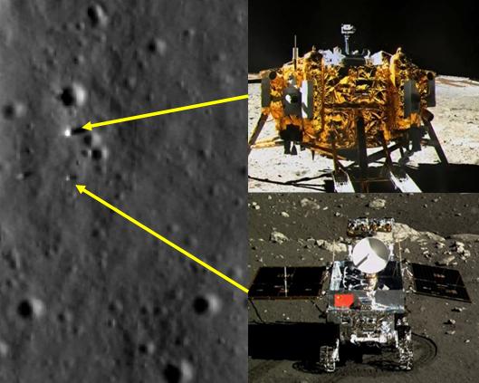 Gambar 1. Wahana pendarat Chang'e 3 dan robot penjelajah Yutu dengan posisinya masing-masing di permukaan Bulan berdasarkan citra satelit LRO per 25 Desember 2013. Sumber: NASA, 2013; CCTV, 2013.