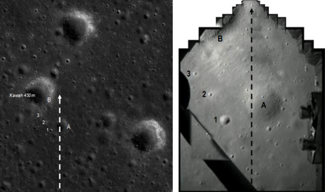 Gambar 5. Perbandingan wajah Bulan melalui QuickMap (kiri) dan rekonstruksi citra pembantu pendaratan Change'3 oleh Tezio (kanan). Sejumlah fitur permukaan Bulan nampak jelas dalam kedua citra, baik fitur berukuran besar seperti kawah A dan tepian kawah 450 m (B) maupun fitur berukuran kecil seperti kawah 1, 2 dan 3. Garis putus-putus menunjukkan proyeksi lintasan yang ditempuh Chang'e 3 sebelum pendaratannya. Panduan arah, atas = utara, kanan = timur. Sumber: Tezio, 2013 dan Sudibyo, 2013 dengan QuickMap.