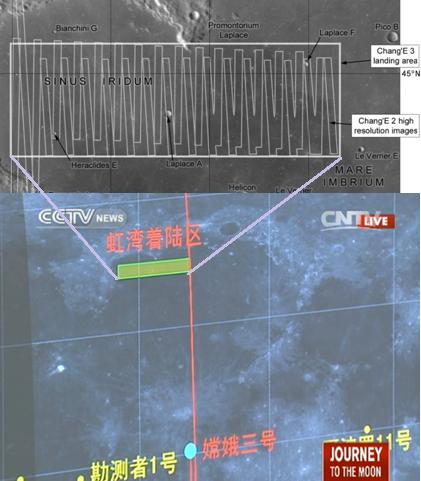 Gambar 3. Perkiraan zona pendaratan Chang'e 3 seperti dirilis Phil Stooke (NASA) dibandingkan dengan zona pendaratan yang sesungguhnya seperti dipublikasikan melalui televisi CCTV. Sumber: Stooke, 2013; CCTV, 2013.