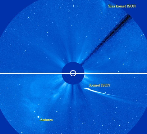 Gambar 6. Dramatisnya penampilan komet ISON terlihat dalam citra komposit ini, antara 30 jam sebelum melintasi perihelionnya saat komet masih cukup terang (bawah) dengan 30 jam setelah melewati perihelionnya saat komet sudah sangat redup (atas). Sumber: NASA, 2013.