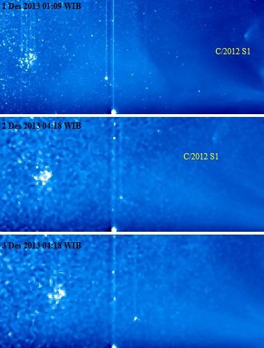 Gambar 3. Dinamika gumpalan debu sisa komet ISON sebagaimana terekam satelit STEREO-A instrumen HI-1 pada 1 hingga 3 Desember 2013. Pada 1 Desember, sisa komet masih nampak jelas (atas), namun pada 2 Desember ia sudah cukup kabur (tengah). dan pada 3 Desember, sisa komet ISON sudah tak terdeteksi lagi. Sumber: NASA, 2013.