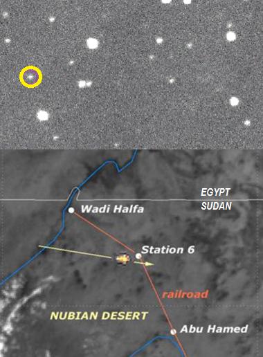 Gambar 4. Atas: citra asteroid 2008 TC3 (dalam lingkaran kuning) yang diabadikan Observatorium Gunung Lemmon (AS) pada 6 Oktober 2008. Bawah: titik lokasi airburst asteroid 2008 TC3 berdasarkan citra inframerah satelit Meteosat-8. Panah menunjukkan lintasan asteroid, garis biru menunjukkan Sungai Nil. Sumber: NASA, 2008; Shaddad dkk, 2010.