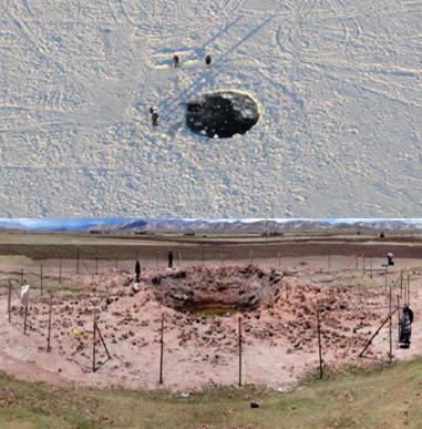 Gambar 6. Jejak terkini yang ditinggalkan dari peristiwa tumbukan asteroid-tanpa-nama yang tak terdeteksi sistem penyigian langit aktif masa kini. Atas: lubang selebar ~7 meter di permukaan es Danau Cherbakul, Chelyabinsk (Russia) yang dibentuk oleh meteorit berbobot ~600 kg pasca mengalami airburst dalam peristiwa Chelyabinsk. Bawah: kawah selebar 13,5 meter produk tumbukan asteroid berdiameter ~1 meter di Carancas (Peru). Sumber: Popova dkk, 2013; Tancredi dkk, 2009.
