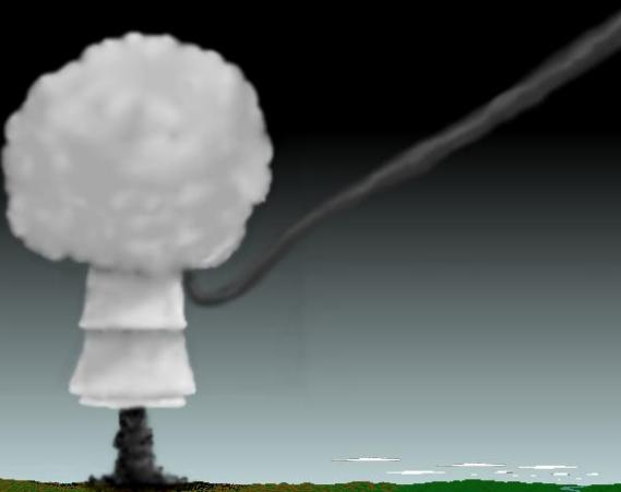Gambar 6. Ilustrasi peristiwa airburst yang disebabkan oleh tumbukan komet/asteroid berukuran kecil ke Bumi. Asteroid datang dari langit dan menjadi meteor-terang dengan ekor yang tebal, untuk kemudian terpecah-belah dan lantas mendadak terlambatkan di ketinggian tertentu sehingga melepaskan mayoritas energi kinetiknya ke udara layaknya ledakan nuklir. Sumber: Neisius, 2004.