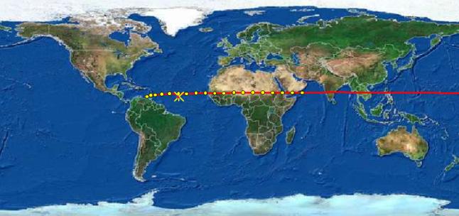 Gambar 5. Proyeksi lintasan asteroid 2014 AA di atas permukaan Bumi dalam 12 jam sebelum tumbukan. Asteroid melaju ke arah barat dengan kecepatan tinggi. Bintik-bintik kuning mewakili posisi asteroid setiap setengah jam sekali hingga 2 Januari 2014 pukul 11:00 WIB. Tanda bintang (*) merupakan titik airburst yang terekam oleh detektor infrasonik di 3 stasiun IMS. Sumber: Sudibyo, 2014 dengan data dari NASA dan Brown, 2014.