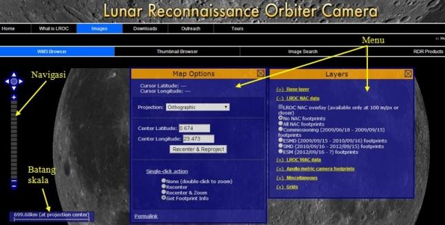 Gambar 3. Tampilan laman peta WMS Image dengan menu dan panel-panelnya. Sumber: Arizona State University, 2013.