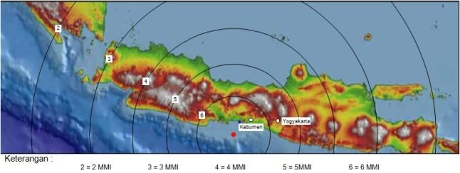 Gambar 4. Peta sederhana tentang intensitas getaran teoritik yang bisa ditimbulkan oleh Gempa Kebumen 25 Januari 2014 dalam skala MMI (Modified Mercalli Intensity). Sumber: Sudibyo, 2014.