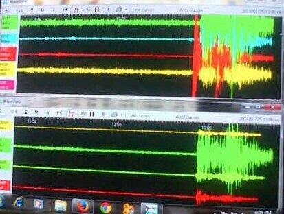 Gambar 2. Rekaman salah satu gempa susulan dalam Gempa Kebumen 25 Januari 2014 yang tercatat dalam stasiun seismometer broadband di Pos Pengamatan Gunung Merapi. Sumber: BPPTKG, 2014.