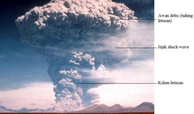 Gambar 3. Bentuk awan jamur dari rempah vulkanik yang disemburkan dalam jam pertama letusan bertipe plinian, dalam hal ini di Gunung Pinatubo (Filipina) pada tahun 1991. Sumber: USGS, 1991.