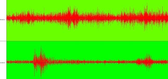Gambar 2. Gelombang seismik dari Gempa Sumogawe yang terekam di stasiun seismik Karangkates, Malang (atas) dan Sawahan, Nganjuk (bawah) melalui JSView yang dikembangkan Januar Arifin di BMKG. Gelombang seismik ini mengandung ciri khas gempa tektonik. Sumber: BMKG, 2014.