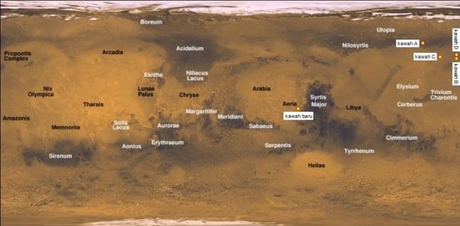 Gambar 2. Posisi kawah 30 meter dalam peta global permukaan Mars. Di sudut kanan atas nampak empat kawah baru (kawah A, B, C dan D) yang terungkap pada 2008 silam dan menarik perhatian karena pembentukannya juga memencarkan es murni yang semula ada di bawah tanah Mars. Sumber: Sudibyo, 2014 dengan peta dari USGS.