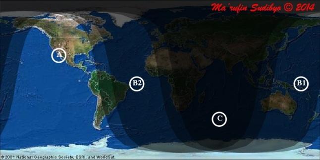 Gambar 3. Peta wilayah Gerhana Bulan Total 15 April 2014 secara global. A = wilayah yang dapat menyaksikan gerhana secara penuh di setiap tahapnya, B1 = wilayah yang hanya dapat menyaksikan sebagian tahap gerhana kala Bulan terbit, B2 = wilayah yang hanya dapat menyaksikan sebagian tahap gerhana kala Bulan terbenam, C = wilayah yang tak dapat menyaksikan gerhana sama sekali. Sumber: Sudibyo, 2014.