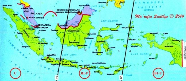 Gambar 4. Peta wilayah Gerhana Bulan Total 15 April 2014 untuk Indonesia. Garis U4 adalah garis dimana kontak akhir umbra bertepatan dengan saat Bulan terbit setempat, sementara garis P4 adalah garis saat kontak akhir penumbra bertepatan dengan saat Bulan terbit setempat. B1-U = wilayah yang dapat menyaksikan gerhana semenjak Bulan terbit hingga akhir gerhana baik secara kasat mata (umbra) maupun tidak (penumbra). B1-P = wilayah yang dapat menyaksikan gerhana sejak Bulan terbit hingga akhir gerhana hanya secara tak kasat mata (penumbra). Dan C = wilayah yang tak dapat menyaksikan gerhana sama sekali. Sumber: Sudibyo, 2014.