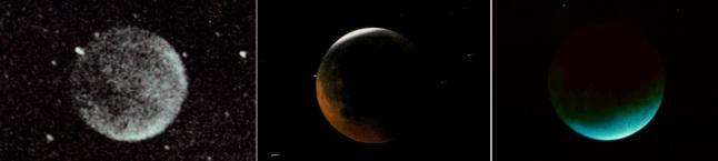 Gambar 6. Wajah Bulan pada saat puncak tiga Gerhana Bulan Total berbeda, masing-masing 30 November 1963 pasca Letusan Agung (kiri), 30 Desember 1982 pasca Letusan el-Chichon (tengah) dan 9 Desember 1992 pasca Letusan Pinatubo (kanan). Pasca letusan Agung, gerhana menghasilkan Bulan sangat redup kala puncak dan menjadi Bulan tergelap semenjak 1816. Bulan sangat redup saat puncak gerhana juga dijumpai pasca letusan el-Chichon, membuat kamera harus disetel pada exposure time cukup lama sehingga bintang-bintang di latar belakang Bulan nampak sebagai garis cahaya. Dan pasca letusan Pinatubo, Bulan tak hanya sangat redup di saat puncak gerhana, namun juga berwarna kebiru-biruan. Ini akibat sangat kotornya atmosfers ehingga cahaya kemerahan diserap aerosol dalam jumlah besar. Akibatnya hanya sinar Matahari yang lewat di puncak lapisan stratosfer  saja yang bisa diteruskan ke Bulan, dimana berkas sinar harus melalui lapisan Ozon yang menyerap cahaya kemerahan sehingga hanya tersisa cahaya kebiruan. Sumber: Keen, 2008.