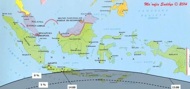 Gambar 2. Peta wilayah Gerhana Matahari Cincin non sentral 29 April 2014 dalam lingkup Indonesia. Di Indonesia gerhana Matahari ini akan berbentuk Gerhana Matahari Sebagian, dengan wilayah gerhana ditandai oleh daerah yang berarsir. Angka persentase (misalnya 0 %) menunjukkan magnitudo gerhana. Sementara angka waktu (misalnya 14:00) menunjukkan waktu puncak gerhana dalam WIB. Angka persentase dan waktu bersumber dari software Emapwin 1.21 karya Shinobu Takesako (Jepang). Sumber: Sudibyo, 2014.