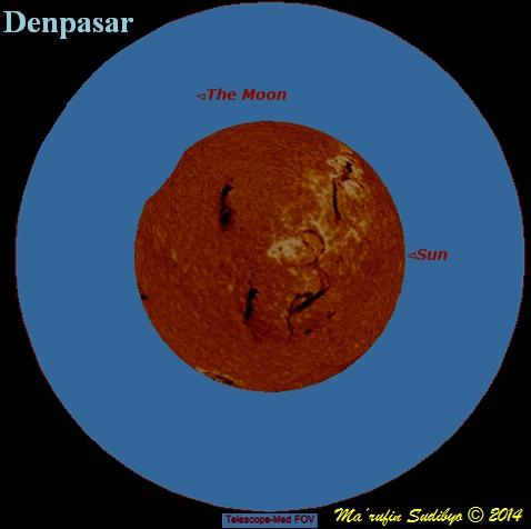 Gambar 2. Hasil simulasi ketampakan Matahari di kota Denpasar (Bali) pada puncak Gerhana Matahari 29 April 2014 menggunakan teleskop sedang. Patokan arah, kanan = utara, bawah = barat. Nampak bundaran Matahari 'teriris' cakram Bulan di saat puncak gerhana (magnitudo gerhana 3 %). Namun jika observasi dilaksanakan menggunakan binokuler, bagian Matahari yang 'teriris' tidak terlihat. Sumber: Sudibyo, 2014 dengan bantuan Starry Night Backyard 3.0.