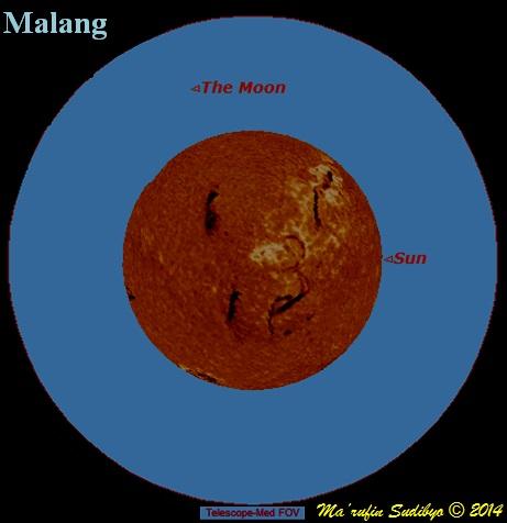 Gambar 1. Hasil simulasi ketampakan Matahari di kota Malang (Jawa Timur) pada puncak Gerhana Matahari 29 April 2014 menggunakan teleskop sedang. Patokan arah, kanan = utara, bawah = barat. Meski telah memanfaatkan teleskop, sangat sulit untuk mendapati bundaran Matahari yang 'teriris' cakram Bulan di saat puncak gerhana (magnitudo gerhana 1 %). Sumber: Sudibyo, 2014 dengan bantuan Starry Night Backyard 3.0.