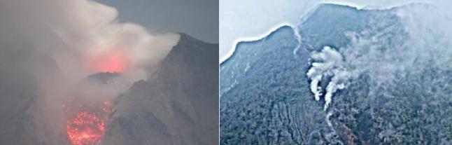Gambar 3. Kiri: pemandangan kubahlava Sinabung pada 13 Januari 2014 saat sebagian massanya telah longsor menjadi awan panas guguran. Nampak lava segar terus menyeruak dan menumpuk di puncak kubah. Sementara di tepi kubah lava mulai meluber dari pinggir kawah dalam keadaan panas membara. Lava yang meluber inilah yang di kemudian hari menjadi lidah lava. Kanan: titik-titik semburan asap di sepanjang retakan memanjang di lereng utara-barat laut gunung, yang mengarah ke Danau Lau Kawar. Sumber: ESDM, 2014; Wittiri, 2014 dalam Geomagz, 2014.