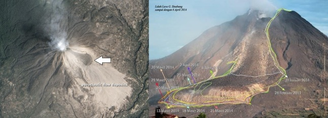 Gambar 2. Kiri: citra satelit Earth Observatory-1 (EO-1) melalui instrumen Advanced Land Imager (ALI) pada kanal cahaya tampak terhadap Gunung Sinabung dan lingkungan sekitarnya, yang diambil pada 6 Februari 2014. Nampak kawah di puncak gunung terus mengepulkan gas-gas vulkanik. Lidah lava pun terlihat jelas (tanda panah) dan telah mengalir sejauh sekitar 1,5 km dari kawah aktif menyusuri endapan awan panas guguran (pyrocalstic flow deposits). Kanan: panorama lidah lava Sinabung pada 6 April 2014. Garis-garis menunjukkan perkembangan lidah lava dari waktu ke waktu. Sumber: NASA, 2014; PVMBG, 2014.