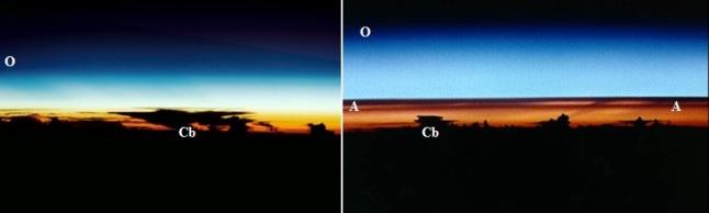"""Gambar 5. Dramatisnya perbedaan panorama atmosfer Bumi pasca letusan dahsyat gunung berapi (kanan) dibanding saat normal (kiri) saat diabadikan melalui pesawat ulang-alik. O = lapisan ozon dan Cb = puncak awan cumulonimbus (awan hujan). Pada saat """"kotor"""", nampak terlihat aerosol sulfat (A) yang membentuk lapisan ganda di bawah lapisan ozon, jauh di dalam stratosfer. Aerosol sulfat ini tembus pandang, namun berkemampuan besar menghalangi sinar Matahari yang seharusnya diteruskan ke Bumi hingga persentase tertentu. Sumber: NASA, 1992 & 1997."""