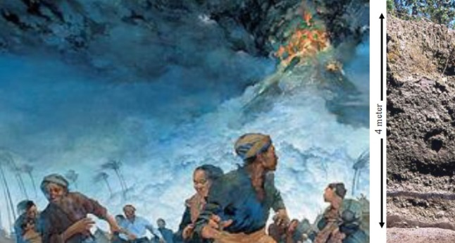 Gambar 3. Kiri: ilustrasi Greg Harlin yang menggambarkan saat-saat jelang letusan dahsyat Gunung Tambora pada bulan April 1815. Puncak gunung terus mengepulkan asap dan api, sementara penduduk yang panik bergegas mengungsi. Kanan: endapan debu dan awan panas Letusan Tambora 1815 setebal 4 meter, tersingkap di Desa Tambora yang terletak di kaki gunung berapi itu. Sumber: Johnston, 2012; Sutawidjaja dkk, 2006.