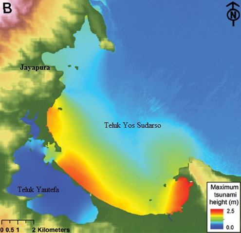 Gambar 5. Hasil simulasi terkait peristiwa Jayapura. Dengan geometri pesisir yang rumit, maka tsunami yang memasuki teluk Yos Sudarso mengalami penguatan sehingga tingginya membengkak sampai 2,5 meter meskipun di pinggir teluk (yakni di Jayapura) ketinggiannya hanya 80 cm. Sebagai tsunami pun memasuki Teluk Yautefa untuk kemudian melanda kawasan pesisir hingga sejauh 250 meter dari garis pantai. Sumber: Diposaptono, 2013.