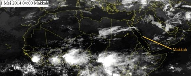 Gambar 2. Citra satelit Meteosat kanal inframerah untuk kawasan Afrika bagian utara dan Timur Tengah pada 1 Mei 2014. Nampak semenanjung Arabia relatif bersih dari tutupan awan. Sebaliknya sisi selatan gurun sahara dipenuhi awan sebagai penanda lokasi ICTZ. Sumber: SAT24, 2014.