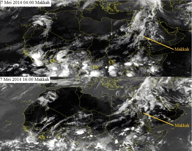 Gambar 4. Citra satelit Meteosat kanal inframerah untuk kawasan Afrika bagian utara dan Timur Tengah pada 7 Mei 2014 di kala fajar (atas) dan senja (bawah). Awan kini mulai menutupi semenanjung Arabia dengan luas tutupan yang meningkat pada saat senja. Di beberapa titik di sisi selatan gurun sahara masih terlihat konsentrasi awan cumulonimbus (Cb). Sumber: SAT24, 2014.