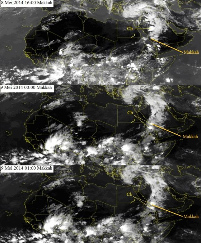 Gambar 6. Citra satelit Meteosat kanal inframerah untuk kawasan Afrika bagian utara dan Timur Tengah pada 8 Mei 2014 saat senja dan tengah malam. Awan yang terus tumbuh dan menebal di atas sebagian semenanjung Arabia kini mulai membentuk awan cumulonimbus (Cb). Awan cumulonimbus berukuran besar terpantau berada di sebelah utara-timur laut kotasuci Madinah pada pukul 16:00 waktu Makkah. Berselang 8 hingga 9 jam kemudian, awan cumulonimbus yang lain terbentuk di atas kotasuci Makkah dan kawasan sebelah barat lautnya. Inilah yang menurunkan hujan sangat deras hingga memicu banjir spontan. Sumber: SAT24, 2014.