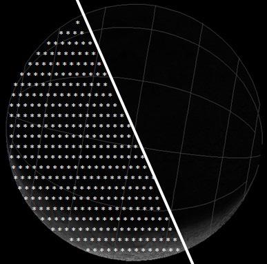 Gambar 3. Simulasi software Starry Night Backyard v3.0 tentang wajah Bulan yang terlihat dari Bumi, khususnya dari kawasan khatulistiwa, pada Sabtu 24 Mei 2014. Titik-titik putih menunjukkan area dimana meteoroid-meteoroid Camelopardalids bakal menghantam Bulan. Sumber: Sudibyo, 2014 dengan data dari NASA.