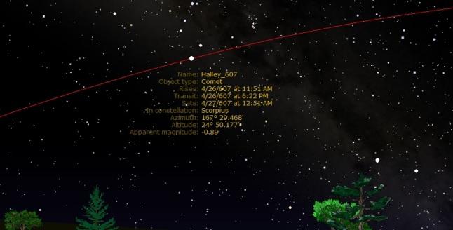 Gambar 5. Ketampakan komet Halley dari kota Makkah pada 26 April 607, disimulasikan dengan Starry Night Backyard 3.0. Komet berada di rasi Kalajengking (Scorpio) dengan latar belakang selempang galaksi Bima Sakti. Magnitudo semu komet adalah -1, menjadikannya benda langit terang yang jauh melampaui bintang tercemerlang sekalipun. Pada akhir April 607 ini komet Halley ada di langit Makkah di hampir sepanjang malam. Sumber: Sudibyo, 2013 dengan basis Starry Night.