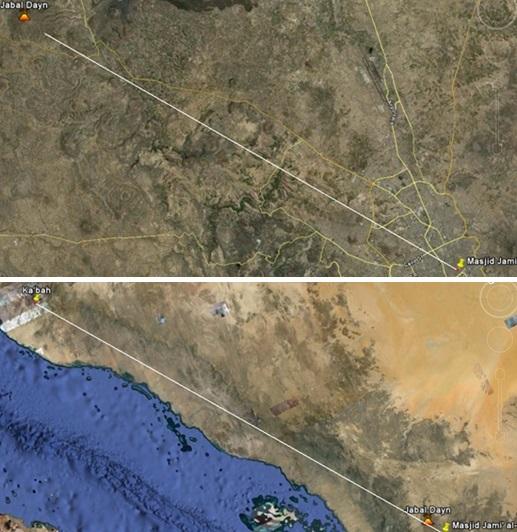 Gambar 4. Citra satelit yang menggambarkan bagaimana jika penduduk kota San'a berdiri di taman Bathan (kini Masjid Jami' al-Kabir) dengan menghadap ke arah Gunung Jabal Dayn (atas), maka pada hakikatnya mereka tepat menghadap ke Ka'bah (bawah). Garis lurus merupakan garis sepanjang 815 kilometer yang menghubungkan taman Bathan dengan Ka'bah, dimana garis tersebut tepat melintas di lokasi Gunung Jabal Dayn. Sumber: Sudibyo, 2012.