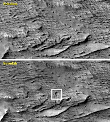Gambar 4. Perbandingan citra CTX antara sebelum dan sesudah 28 Maret 2012. Panduan arah, atas = utara, kanan = timur. Nampak kawah 48,5 meter (dalam kotak putih) dengan kawah lain yang lebih kecil tepat di sisi selatannya. Sumber: NASA, 2014.