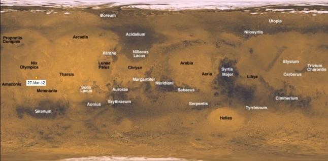 Gambar 2. Lokasi kawah bergaris tengah 48,5 meter dalam peta global Mars, dilabeli dengan 27-Mar-12. Panduan arah, atas = utara, kanan = timur. Sumber: Sudibyo, 2014 dengan citra Mars dari NASA, 2006.