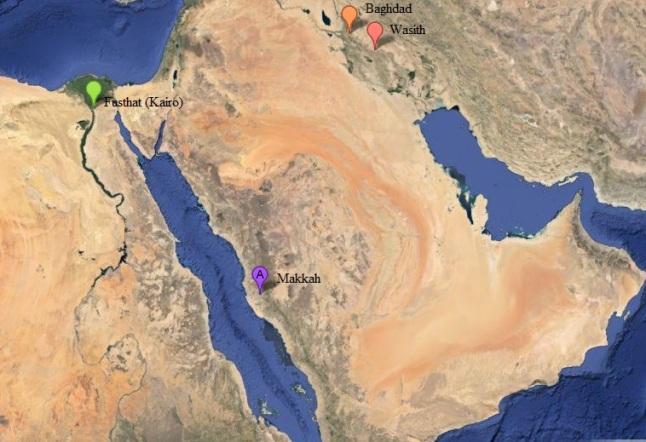 Gambar 2. Citra satelit Timur Tengah masa kini dalam proyeksi Mercator beserta lokasi Ka'bah (Makkah), Fusthat (Kairo), Baghdad dan Wasith. Citra bersumber dari Google Maps classic mode satellite. Sumber: Sudibyo, 2014.