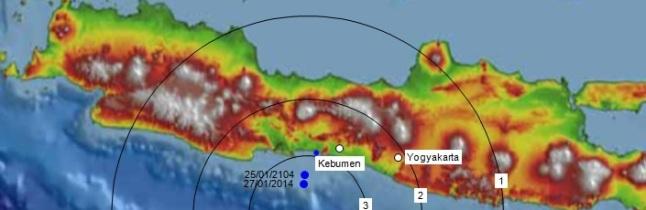 Gambar 1. Peta sederhana intensitas getaran dalam Gempa Kebumen 4 Juni 2014. Lingkaran-lingkaran berangka 1, 2 dan 3 masing-masing menunjukkan jangkauan maksimum daerah yang tergetarkan dengan intensitas 1 MMI, 2 MMI dan 3 MMI. Dari peta ini dapat dilihat bahwa kawasan Jawa Tengah bagian selatan dan Daerah Istimewa Yogyakarta tergetarkan dengan intensitas antara 2 hingga 3 MMI saja, yakni getaran terlemah yang masih bisa dirasakan manusia. Sumber: Sudibyo, 2013 dengan data dari Ina-TEWS BMKG dan GFZ.