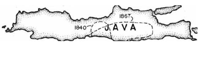 Gambar 5. Prakiraan lokasi sumber dua gempa besar di pulau Jawa pada abad ke-19 menurut katalog Newcomb dan McCann (1987), masing-masing gempa 1840 dan gempa 1867. Nampak Jawa Tengah bagian selatan tercakup ke dalam kedua sumber gempa besar tersebut, menandakan bahwa kawasan ini sejatinya aktif. Sumber: Natawidjaja, 2007.